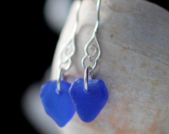 Whitecap sea glass earrings in cobalt blue