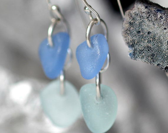 Two Tides sea glass earrings in cornflower blue and white