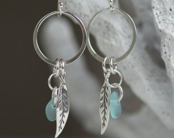 Boho Beach aqua sea glass earrings