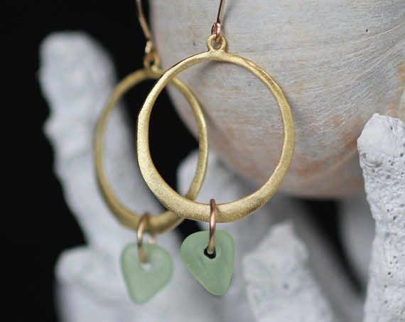 Verge gold filled sea glass earrings in seafoam