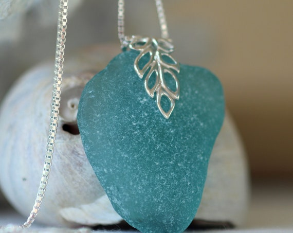 Lagoon sea glass necklace in aquamarine