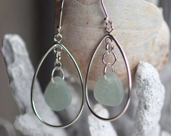 Sea Keeper sea glass earrings in soft seafoam