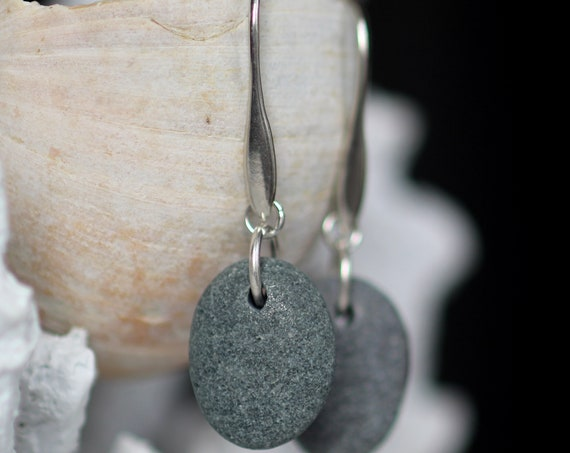 Strength beach pebble earrings