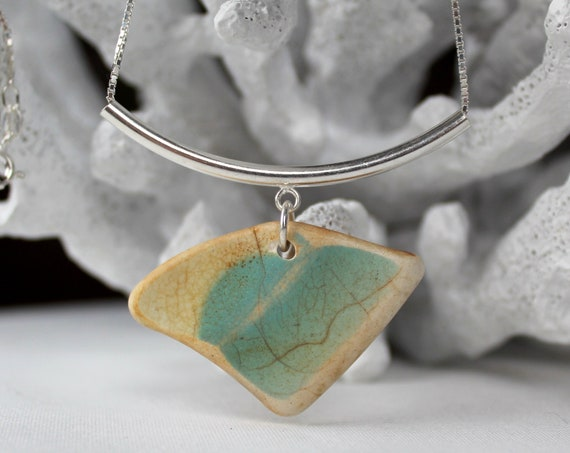 Sea Story sea pottery necklace in aqua
