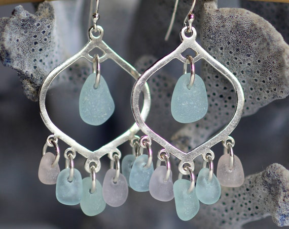 Diviner sea glass earrings in pretty pastels