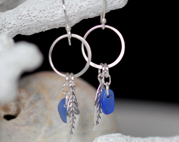 Boho Beach cobalt blue sea glass earrings