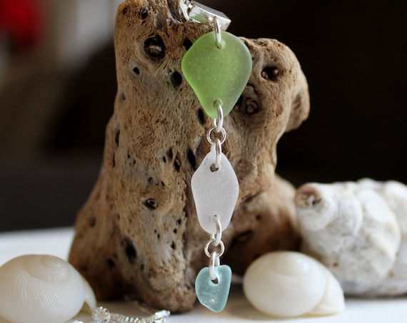 Billows sea glass necklace in lime green, white and aqua