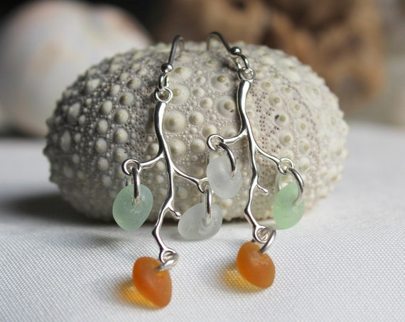 Winterberry sea glass earrings in earth tones