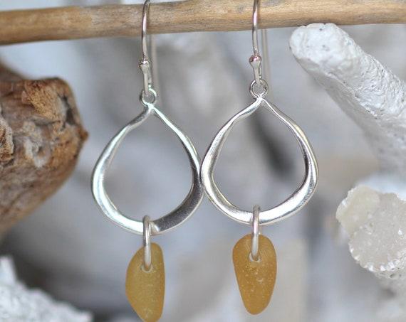 Waterline sea glass earrings in amber