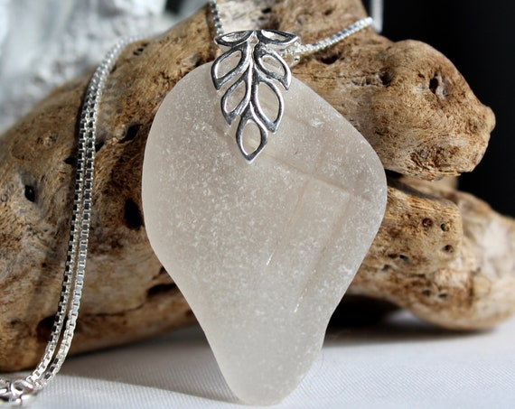 Lagoon sea glass necklace in frosty white