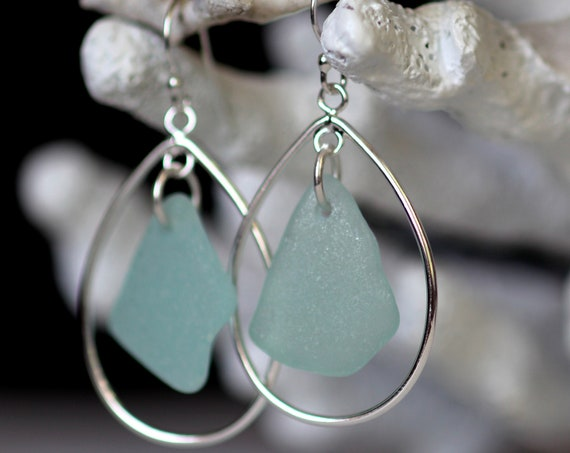 Sea Keeper sea glass earrings in seafoam
