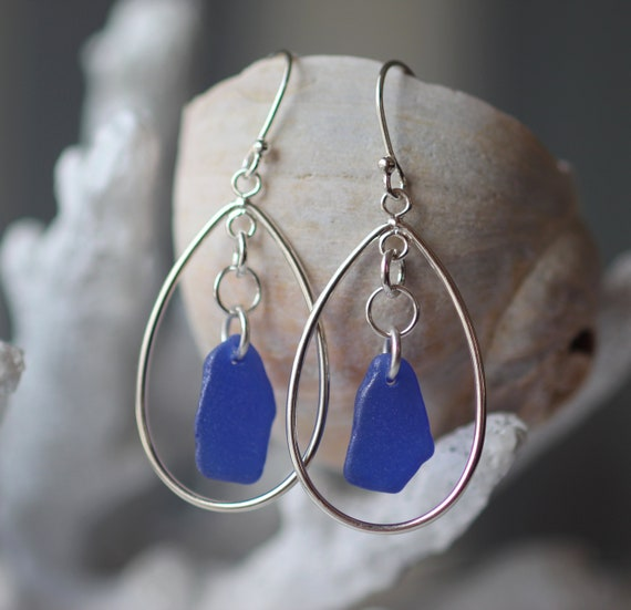 Sea Keeper sea glass earrings in cobalt blue