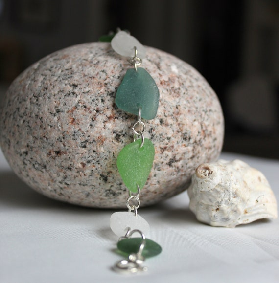 Reserved for Erin- Neptune's Daughter sea glass bracelet in shades of green and white