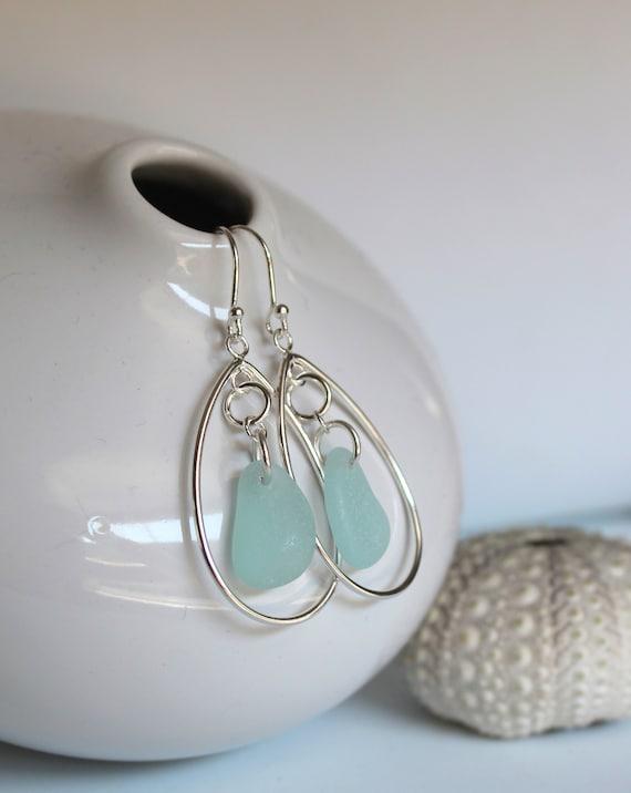 Sea Keeper beach glass earrings in aqua