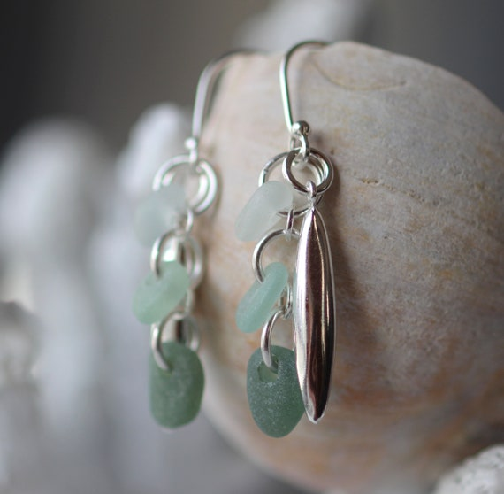 Sea Glass cluster earrings in greens
