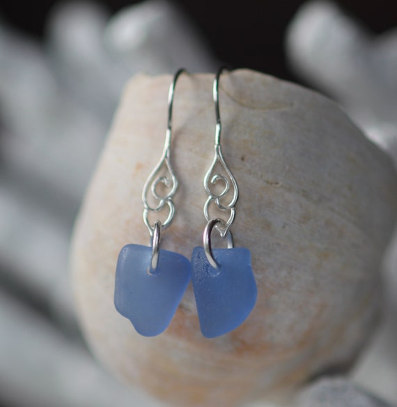 Whitecap sea glass earrings in cornflower blue
