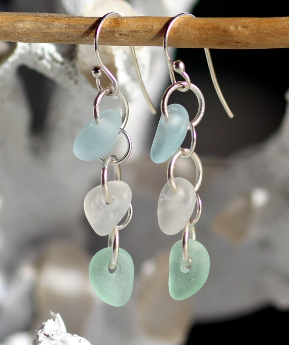 Three Tides sea glass earrings in soft pastels