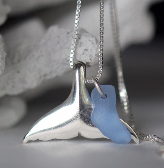 Whale Tail sea glass necklace in cornflower blue