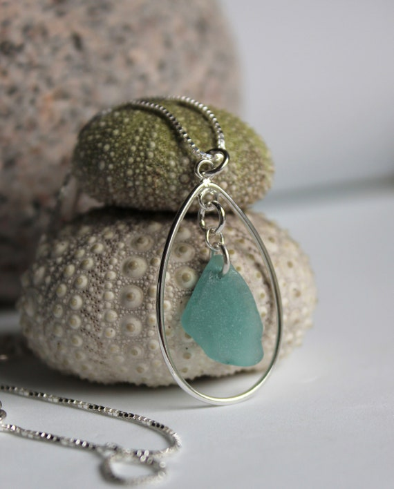 Sea Keeper sea glass necklace in soft aqua