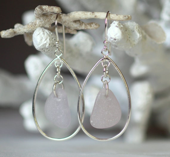Sea Keeper beach glass earrings in soft pink