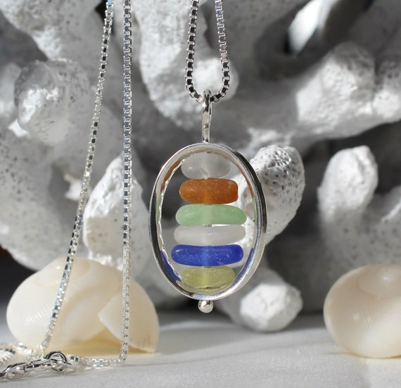Drops in the Ocean colourful sea glass necklace