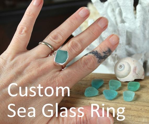 Window on the Sea custom aqua sea glass ring