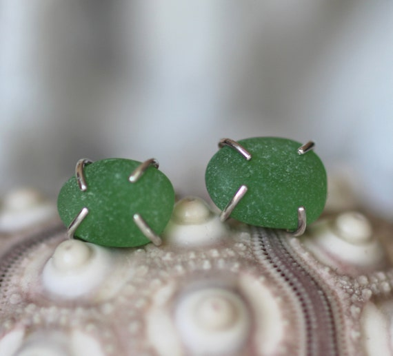 Tiny Ocean sea glass stud earrings in true green