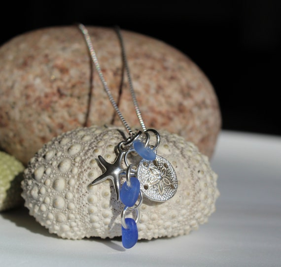 halifax gift for wife sea glass jewelry sterling silver beach necklace Seashell necklace blue seaglass charm sand dollar necklace