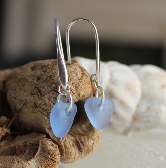Horizon sea glass earrings in cornflower blue