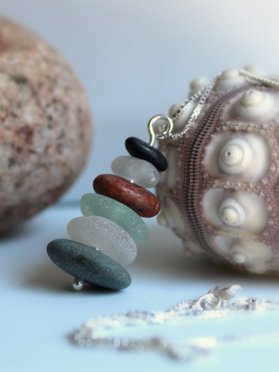 Sea Stack beach pebble and sea glass necklace in earth tones