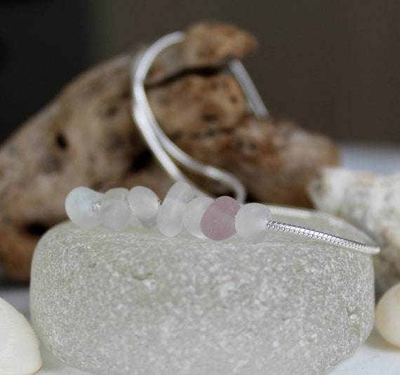 Wanderlust sea glass necklace in white and pink