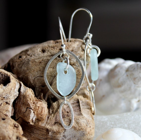 Silver Ocean sea glass earrings in soft aqua
