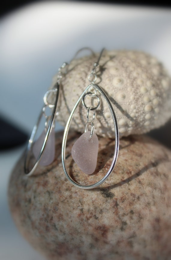 Sea Keeper beach glass earrings in soft pink