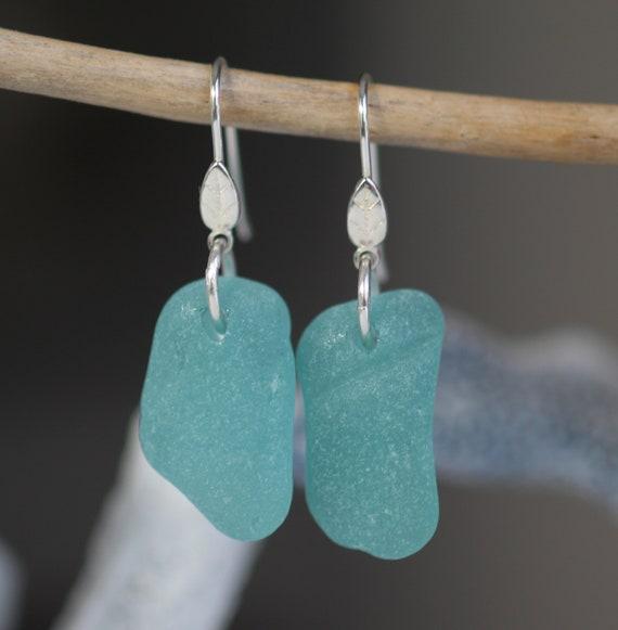 Little Leaf sea glass earrings in teal green