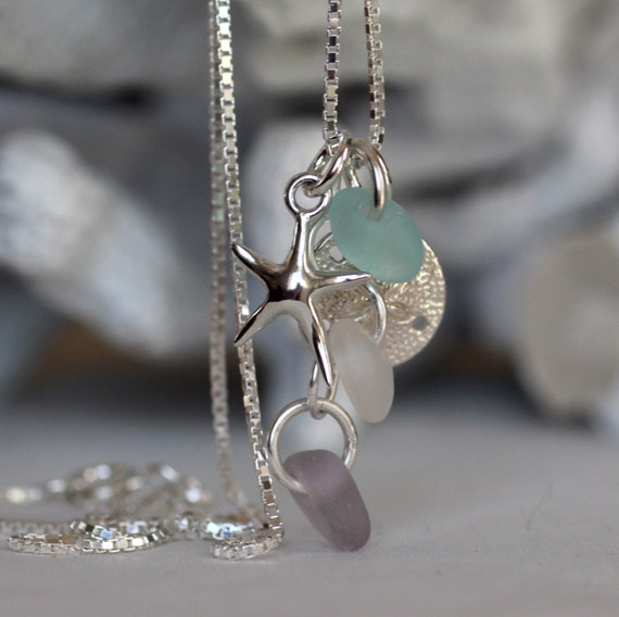 Ocean sea glass necklace in pink, white and aqua
