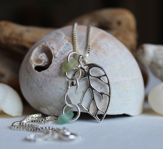 Little Leaf sea glass necklace in citrine, white and teal