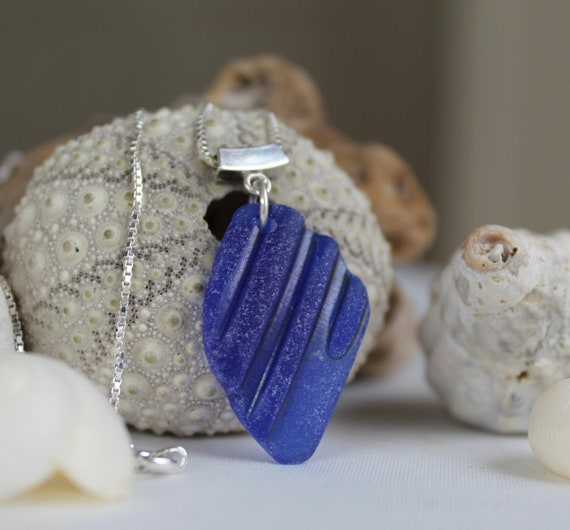 Mermaid's Tear sea glass necklace in cobalt blue
