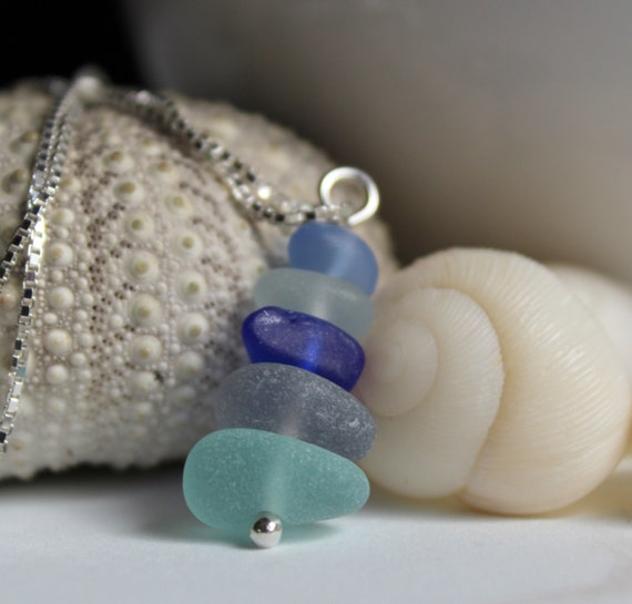 Sea Stack sea glass necklace in ocean blues and white