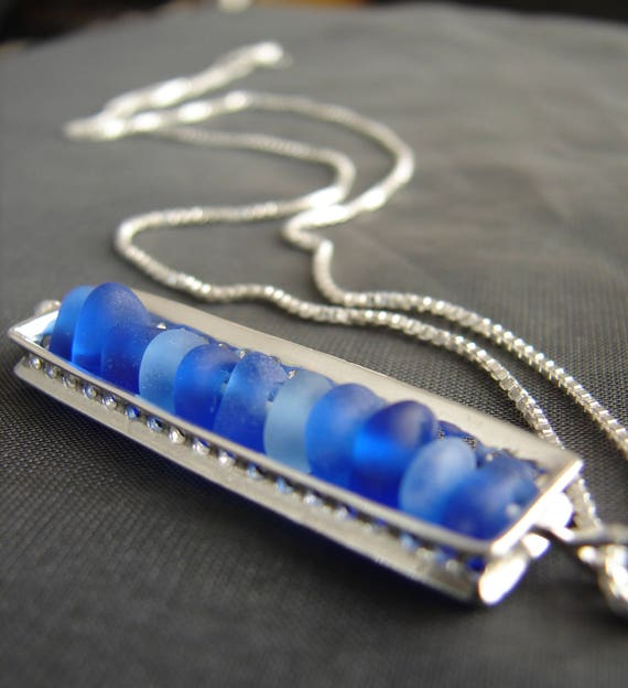 The Mariner sea glass necklace in ocean blues