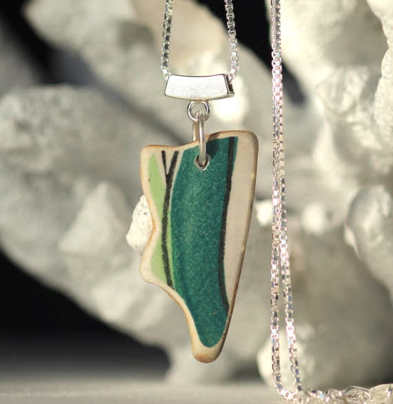 Sea Story sea pottery necklace in teal