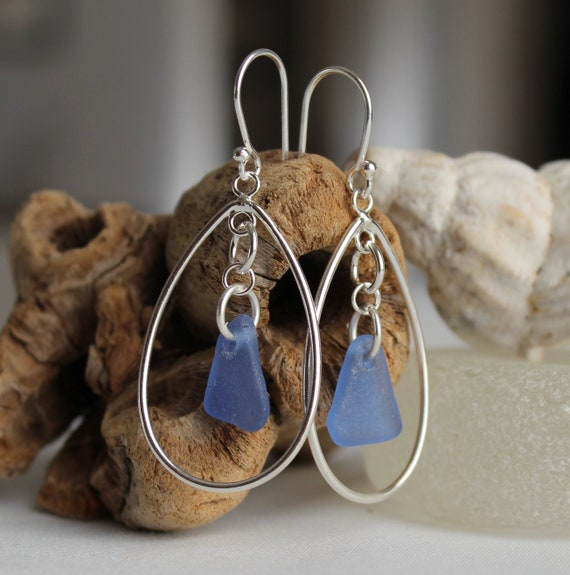 Sea Keeper sea glass earrings in cornflower blue