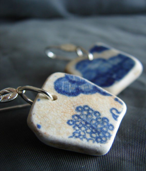 Sea Sisters sea pottery earrings in blue and white