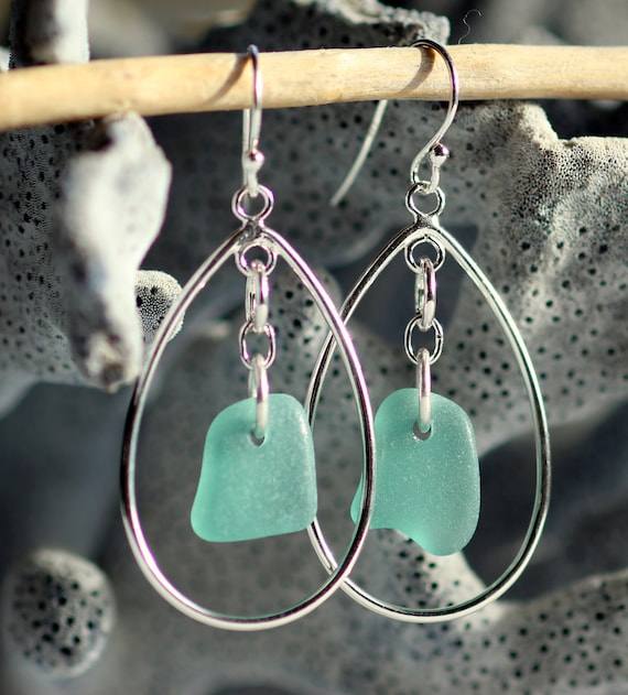 Sea Keeper beach glass earrings in teal