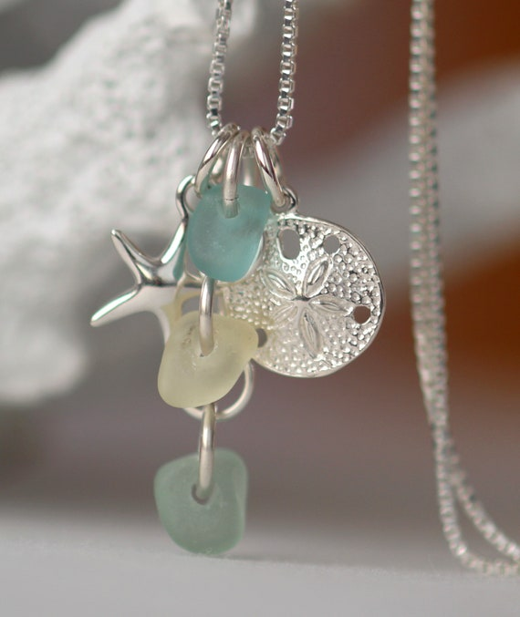 Ocean cluster sea glass necklace in aqua, straw and seafoam