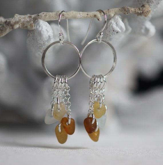 Sirena sea glass earrings in earth tones