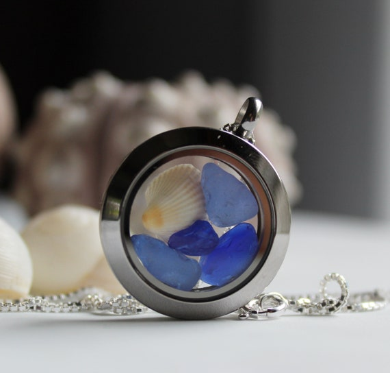 Porthole sea glass locket in shades of blue
