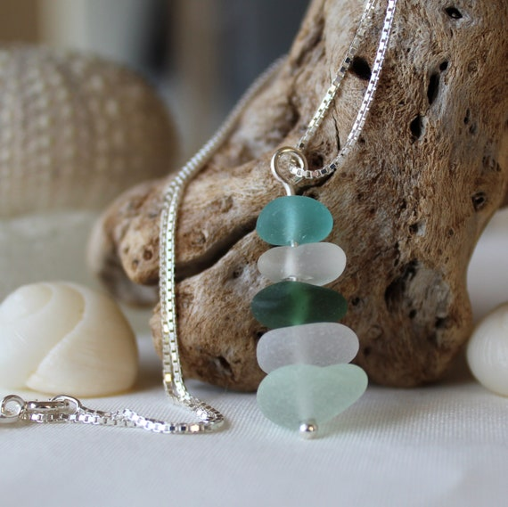 Sea Stack sea glass necklace in aquamarine, teal, citrine and white