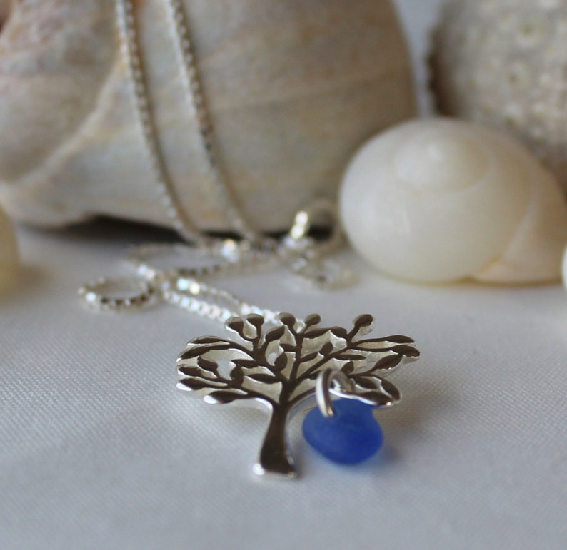 sea glass necklace graduation gift for her Tree of Life necklace best friend gift sterling silver tree of life halifax mom gift