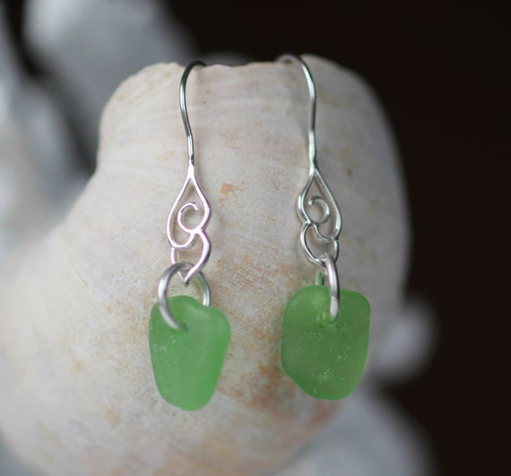 Whitecap sea glass earrings in spring green