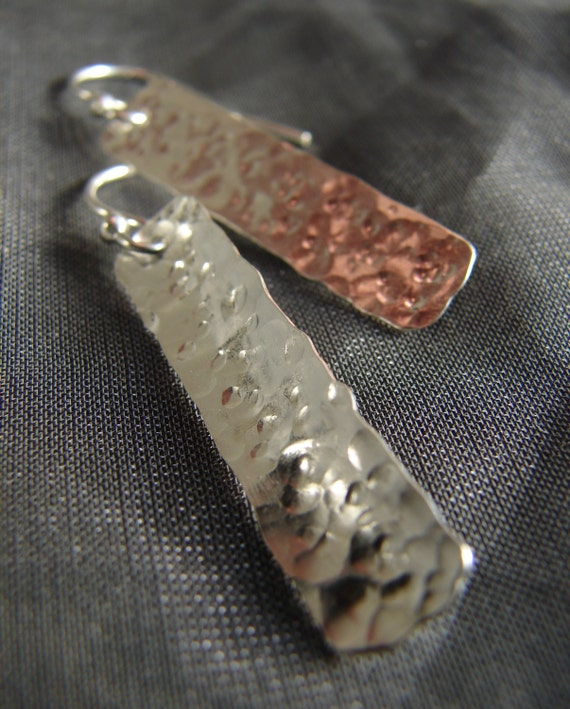 Sun on the Water hammered sterling silver earrings